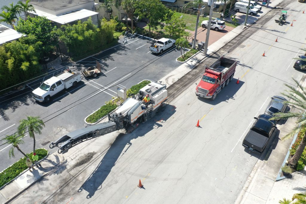 Concrete roadway project with some vechicles