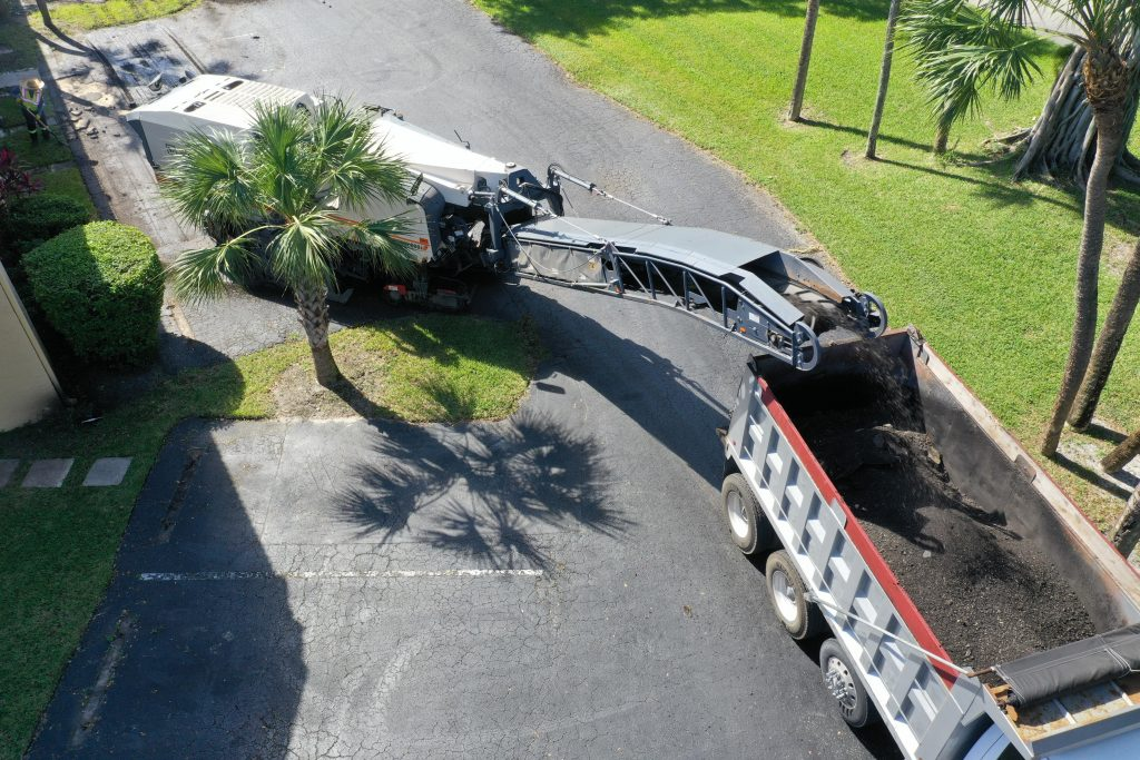 Asphalt Milling Machine working on a residential road